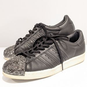 Adidas superstar 80s 3D metal toe black shoes 9.5